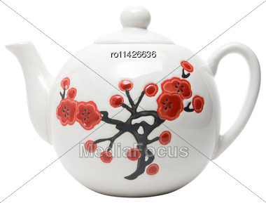 Teapot In Asian Style With Flowers. Isolated On White Stock Photo
