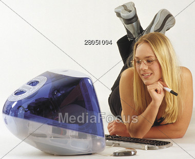 Teen with Computer Stock Photo