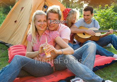 Teenage Friends Camping Stock Photo