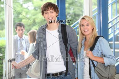 Teenagers At School Stock Photo