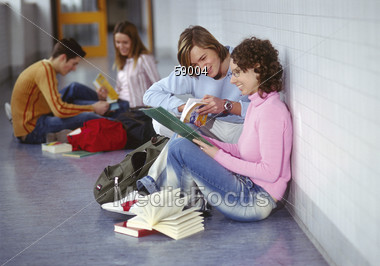 Teenagers In The Hall Stock Photo