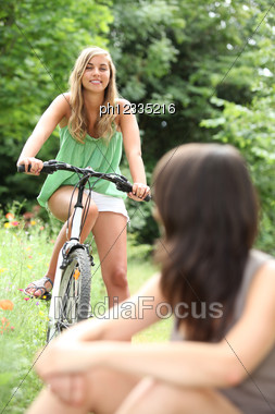 Teenagers Riding Bikes Stock Photo