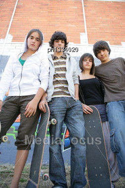 Teenagers With Skateboards Stock Photo