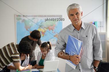 Teens At School Stock Photo