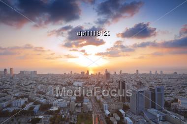 Tel Aviv At Sunset, Israel Stock Photo