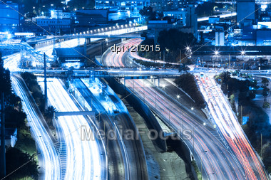 Tel Aviv At Night, Crossroad Traffic, Tel Aviv HaShalom Railway Station Stock Photo
