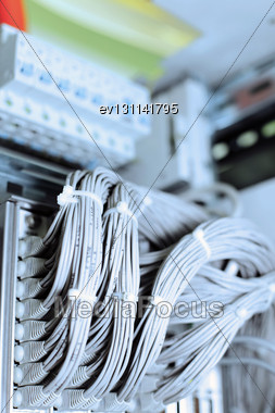 Telecommunication E1 Line In A Datacenter Mobile Operator Stock Photo