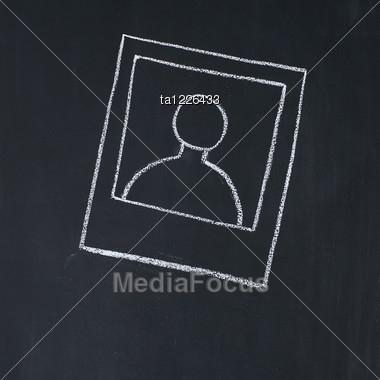 Template Of The Photo Drawn On A Blackboard Stock Photo