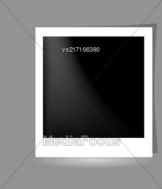 Template Photo Frame Design. Photo Frame On Grey Background Stock Photo
