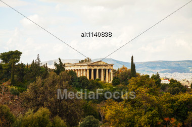 Temple Of Hephaestus In Athens, Greece On An Overcast Day Stock Photo