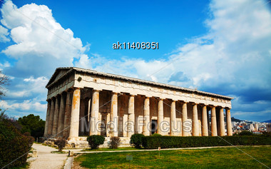 Temple Of Hephaestus In Athens, Greece On A Sunny Day Stock Photo