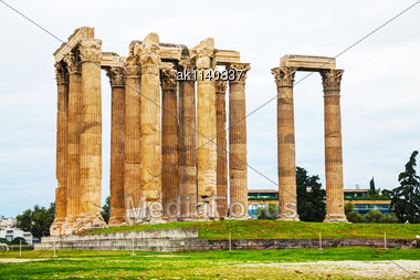 Temple Of Olympian Zeus In Athens? Greece On An Overcast Day Stock Photo
