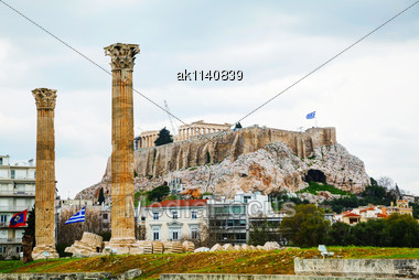 Temple Of Olympian Zeus In Athens On An Overcast Day Stock Photo