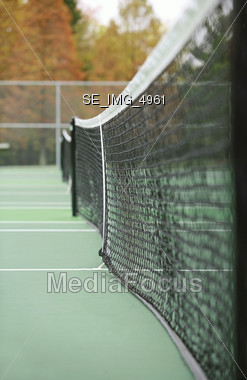 Tennis Net in the Fall Stock Photo