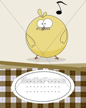 Text Card With Baby Chicken, Cartoon Style Character Stock Photo
