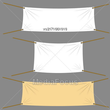 Textile Banners With Copy Space Suspended By Ropes By All Four Corners And Stretched Tight Hanging. White Vinyl Banner Is Waving. Various Empty Promotional Banners Stock Photo
