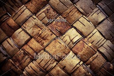 Texture Background Plaited Bast Stock Photo