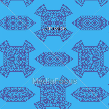 Texture On Blue. Element For Design. Ornamental Backdrop. Pattern Fill. Ornate Floral Decor For Wallpaper. Traditional Decor On Blue Background Stock Photo