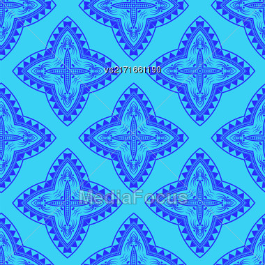 Texture On Blue . Element For Design. Ornamental Backdrop. Pattern Fill. Ornate Floral Decor For Wallpaper. Traditional Decor On Background Stock Photo
