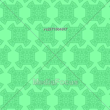 Texture On Green. Element For Design. Ornamental Backdrop. Pattern Fill. Ornate Floral Decor For Wallpaper. Traditional Decor On Background Stock Photo