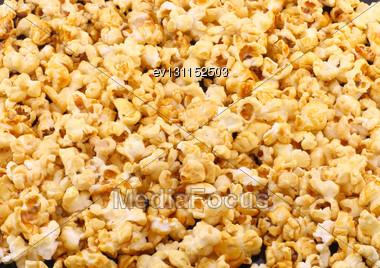 Texture Of Caramel Popcorn. Close-up View Stock Photo