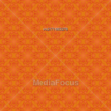 Texture On Orange. Element For Design. Ornamental Backdrop. Pattern Fill. Ornate Floral Decor For Wallpaper. Traditional Decor On Background Stock Photo