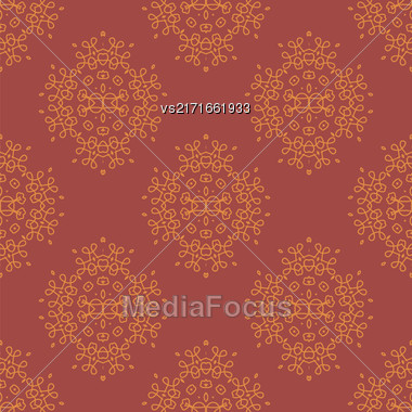 Texture On Red. Element For Design. Ornamental Backdrop. Pattern Fill. Ornate Floral Decor For Wallpaper. Traditional Decor On Red Background Stock Photo