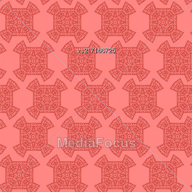 Texture On Red. Element For Design. Ornamental Backdrop. Pattern Fill. Ornate Floral Decor For Wallpaper. Traditional Decor On Background Stock Photo