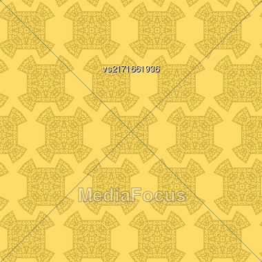 Texture On Yellow. Element For Design. Ornamental Backdrop. Pattern Fill. Ornate Floral Decor For Wallpaper. Traditional Decor On Background Stock Photo