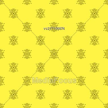 Texture On Yellow. Element For Design. Ornamental Backdrop. Pattern Fill. Ornate Floral Decor For Wallpaper. Traditional Decor On Yellow Background Stock Photo