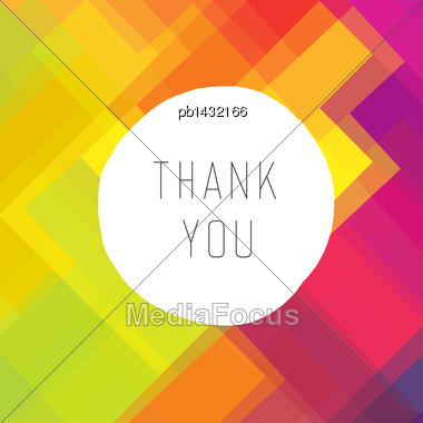 Thank You Card Colorful, Vector Stock Photo