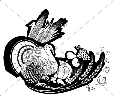 Thanksgiving Background .Vector Postcard With Turkey Stock Photo