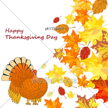 Thanksgiving Day Background With Maple Leaves. All Objects Are Separated. Vector Illustration Eps 10 Stock Photo