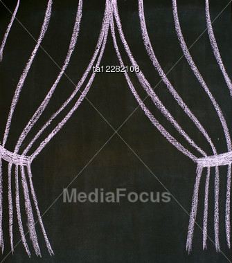 Theatrical Curtains Drawn On A Blackboard Stock Photo
