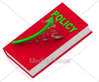 Thick Book In Red Cover With Inscription Policy And Statuette Growing Gilded Euro With Green Arrow Stock Photo