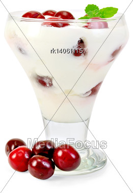 Thick Yogurt With Cherry And Mint In A Glass Sundae Dish, Cherries Isolated On White Background Stock Photo