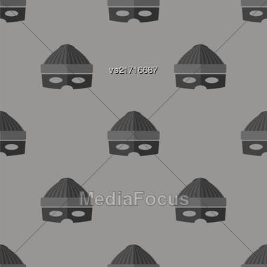 Thief Icon Seamless Pattern On Grey Background Stock Photo
