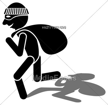 Thief Silhouette And Shadow Isolated On White Background Stock Photo