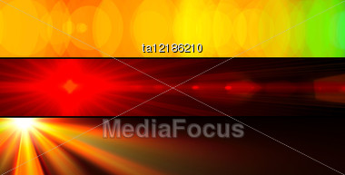 Three Abstract Colourful Banners Of Sunbeams Stock Photo