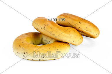 Three Bagels With Poppy Seeds Stock Photo