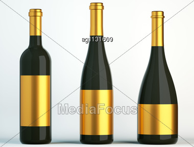 Three Black Bottles For Wine With Golden Labels On White Stock Photo