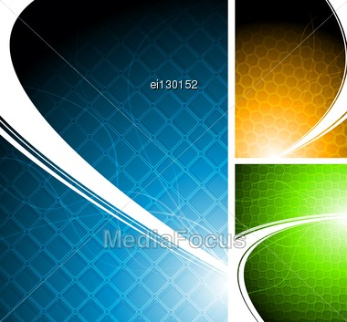 Three Bright Abstract Backgrounds Stock Photo