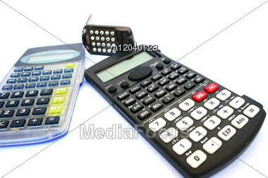 Three Calculators Stock Photo