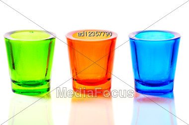 Three Color Blue, Red And Green Glass Candlestick Stock Photo