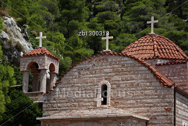 Three Crosses Of Greek Orthodox Monastery Of Osios Patapios Near Corinth And Loutraki At Sunny Summer Day. Stock Photo