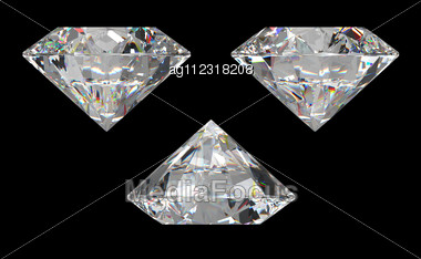 Three Different Side Views Of Large Diamond Over Black Background Stock Photo