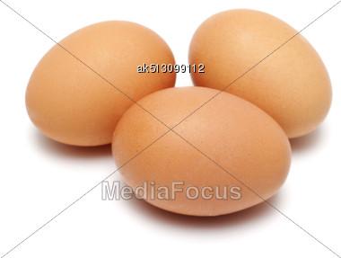 Three Eggs Isolated On White Stock Photo