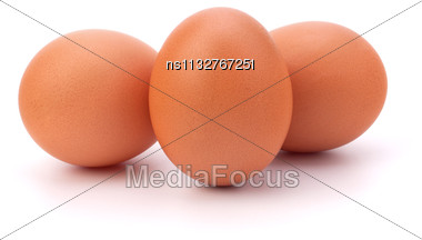 Three Eggs Isolated On White Background Stock Photo