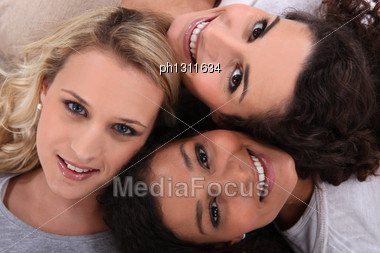 Three Female Friends Stock Photo