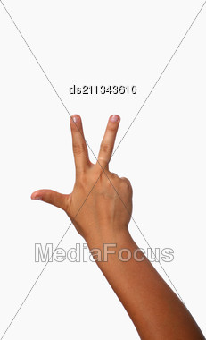 Three Fingers Being Held In The Air By A Female Hand Stock Photo